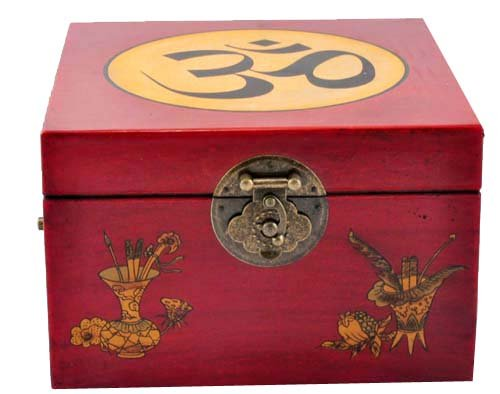 Tibetan Singing Bowl Gift Set- Hand-hammered Singing Bowl in an Om Symbol Leather Box