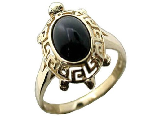 Onyx Baby Turtle Ring, 14k Gold