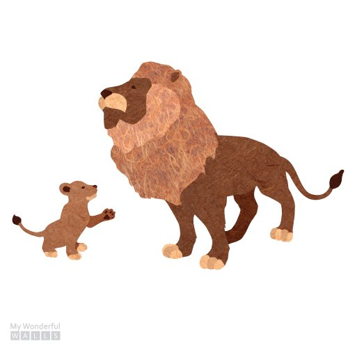 Lion And Lion Cub Sticker Decal Set For Jungle Safari Room Decor front-980703