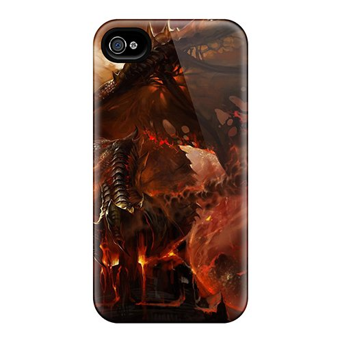 New Arrival Iphone 4/4S Case Red Hot Dragon Case Cover