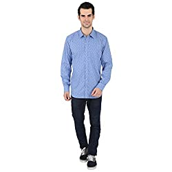 Springfield Mens Blue Printed Shirt