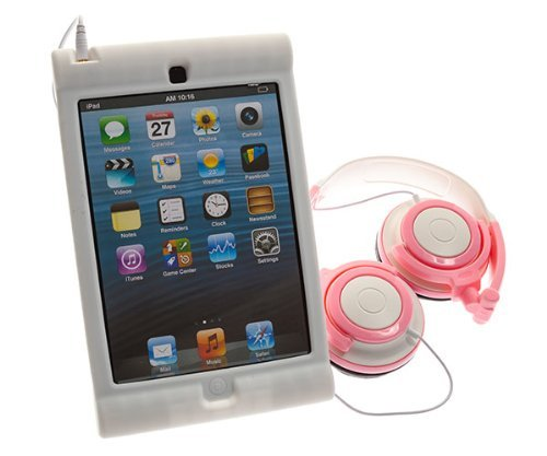 Ultimate Addons Pink Headphones With Kids Silicone Easy Grip Case For Apple Ipad Mini / Mini 2 Retina (White)