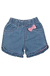 Chirpie Pie by Pantaloons Girl's Cotton Shorts (205000005607572, Blue, 3-6 Months)