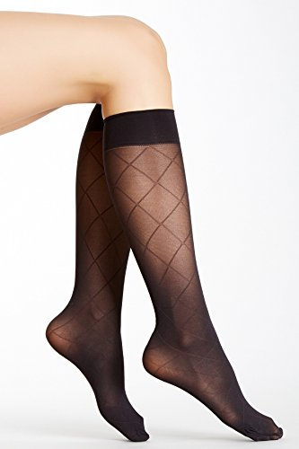 HUE Light Weight Knee-High Tights - Pack of 3 Different Styles, Black, Size 1