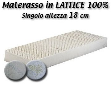Prezzo Materasso in Lattice 100% naturale Baldiflex - 90x190x18 cm - Riv. aloe vera - 7 zone a portanza differenziata