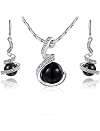 Carina Water Drop Pearl 18K White Gold Plated Swarovski Elements Crystal Pendant And Earring Set With Chain For...
