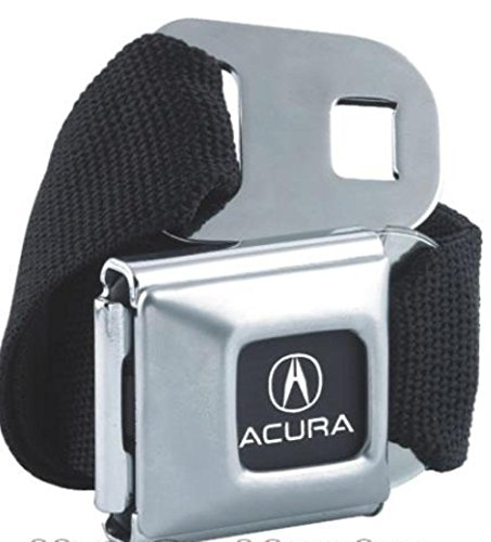 American Made Acura Car Logo Seatbelt Belt Buckle Officially Licensed Authentic Original Collectible New Rare Seat Belt Style Belt Buckle with Black Canvas Webbing.