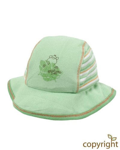 Ecoboo Baby Sun Hat Leaf Green size Medium (approx 6-12m) made from Organic Cotton
