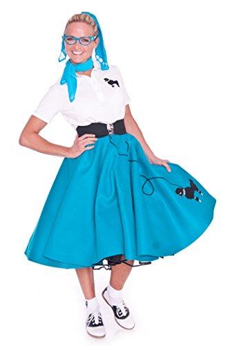 [Hip Hop 50s Shop Adult 7 Piece Poodle Skirt Costume Set Teal XLarge] (Poodle Skirt Costume Plus Size)