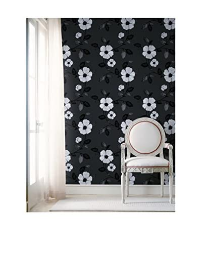 Brewster Zinc Modern Floral Strippable Wallpaper, Black