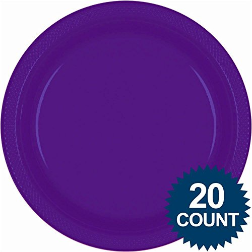 new purple 10 inches plastic plates 20 count - 1