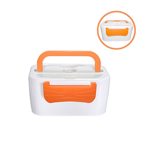 Lunch Box,LOPEZ Portable 110V - 220V Electric Heating Lunch Box Personal Food Warmer Box Multi-function Meal Heater Food Container with Handle - Orange (Electric Lunch Box compare prices)