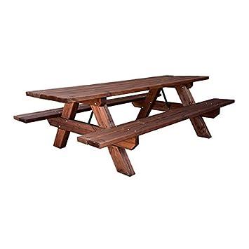 estrucmader–Table de pique-nique en bois pour jardin pour 8pers. 1525x2450x770mm Cerisier