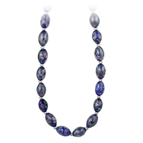 Sterling Silver and Dark Blue Glass Oval Bead Necklace, 19