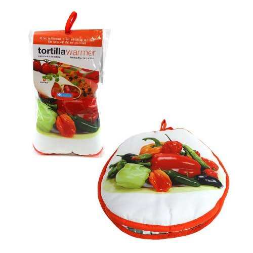 Tortilla Warmer 10- Bell Peppers- Insulated Fabric Pouch By Camerons - Keeps Warm For One Hour After Just 45 Microwave Seconds Color: Peppers Home & Kitchen