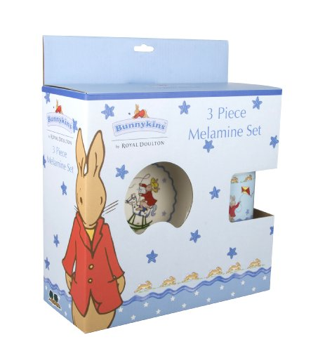 Wonderful, 'Bunnykins,' by 'Royal Doulton,' pale blue 'Shining Star' range, 3 Piece Melamine Set. A perfect childrens gift for boys (B2466).