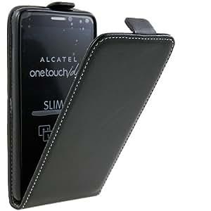 Original Phonecastle Slim Flip Case Handytasche in Schwarz für Alcatel One Touch Idol 6030D Ledertasche