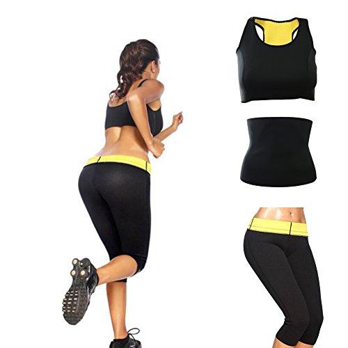 CUTEHILL- Conjunto Shaper de sudoración intensiva Pantalones + Cinturón Abdominal + Top Deportivo de mujer de Neopreno para adelgazar (M)