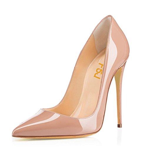 FSJ Women Pointed Toe Pumps High Heel Stiletto Shoes Dress Pumps Slip On Nude 13