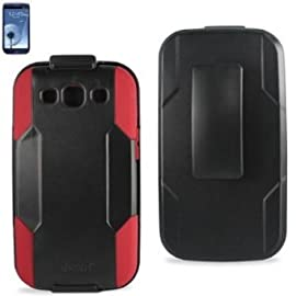 Samsung Galaxy S III Black on Red Hybrid Case/ Holster Combo