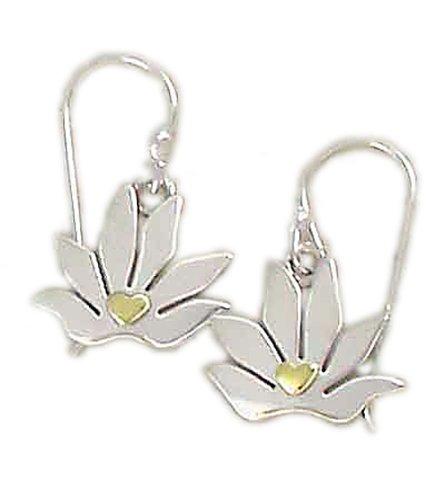 Far Fetched Sterling Silver Lotus & Brass Heart Earrings
