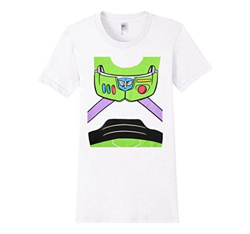 [Women's Buzz-Lightyear Astronaut Costume Adult T-shirt Small White] (Women Buzz Lightyear Costumes)