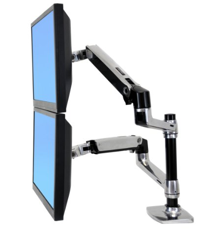 Ergotron LX Dual Stacking Arm - Mounting kit ( tray, desk clamp mount, grommet mount, pole, 2 articulating arms, 2 extension brackets ) for 2 LCD displays or LCD display and notebook - polished aluminium - screen size: up to 24