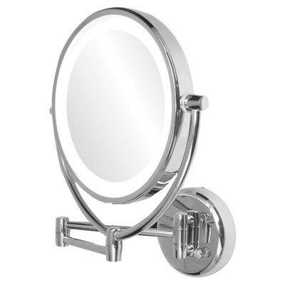 Ovente 1X/10X Dimmable Dual Sided Lighted Wall Mirror