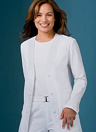 Cherokee Pretty Woman Collection Poplin Cardigan Lab Coat Scrub Lab Coats