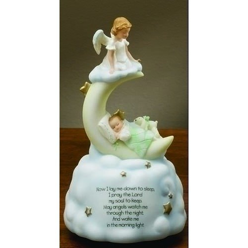 Sweet Dreams Guardian Angel Baby Prayer Musical Music Figurine Statue Plays Brahm's Lullaby by Roman Inc