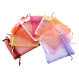Pandahall 200pcs Assorted Colors Organza Drawstring Pouches Gift Bags Package Mixed Color with Dot 4.7x4inch