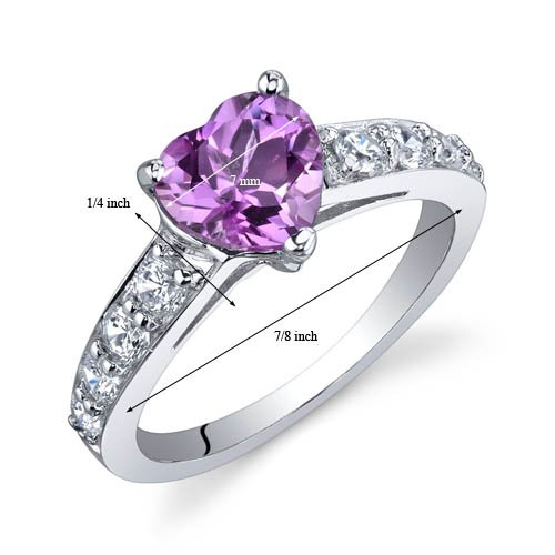 Dazzling Love 1.50 Carats Created Pink Sapphire Ring in Sterling Silver Rhodium Nickel Finish Size 9