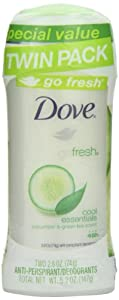 Dove Ultimate go fresh Cool Essentials, Cucumber & Green Tea Antiperspirant/Deodorant, 5.2 Ounce Twin Pack