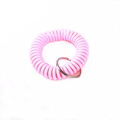 Little Mouse ® Spiral Assorted Color Plastic Wrist Coil Wrist Band Key Ring Chain for Outdoor Sport Black/blue/red/white/purple/green/orange Color Wrist Band (pack of 6 pink solid colour) (Coil Keychain Orange compare prices)