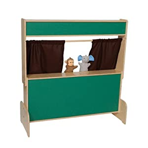 Natural Environments WD21650BN Chalkboard Puppet Theater w/Brown Curtains by Wood Designs Co.
