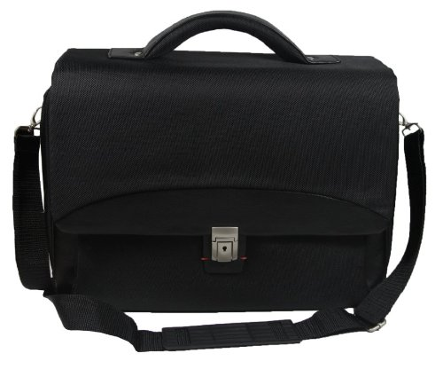 Black Nylon Laptop Ipad Work Flight Briefcase Messenger Bag with Organiser under flap - Holds A4 files and 15
