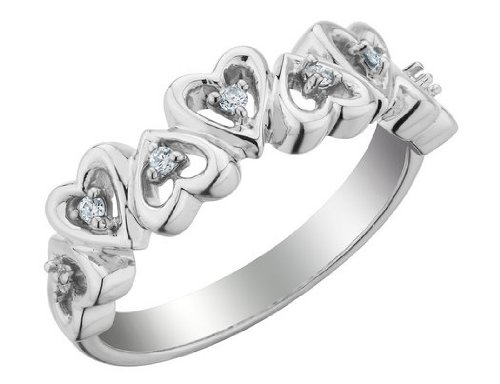 Diamond Heart Promise Ring in Sterling Silver, Size 8.5