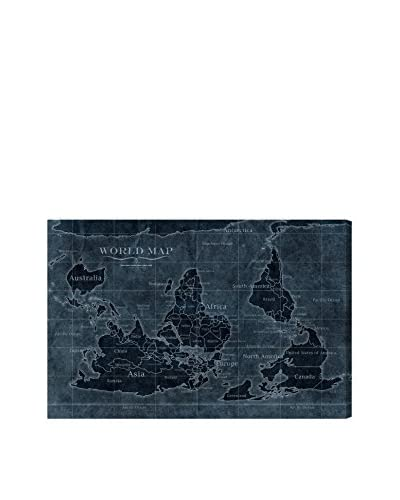 Oliver Gal Hatcher & Ethan 'Upside-Down Map of The World Noir' Canvas Art
