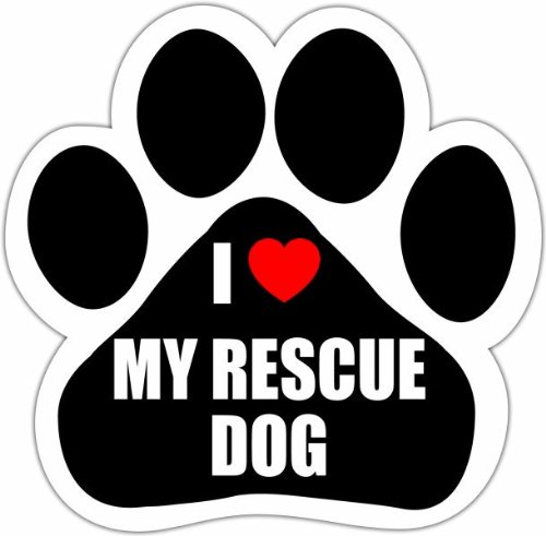 """""""I Love My Rescue Dog"""" Car Magnet With Unique Paw Shaped Design Measures 5.2 By 5.2 Inches Covered In High Quality Uv Gloss For Weather Protection"""