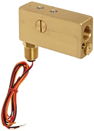 "Gems Sensors FS-10798  Series Brass Flow Switch For Use With Gases, Inline, Piston Type, With 1/2"" Conduit Connector, 0.50 - 20 gpm Flow Setting Adjustment Range, 1/2"" NPT Female"