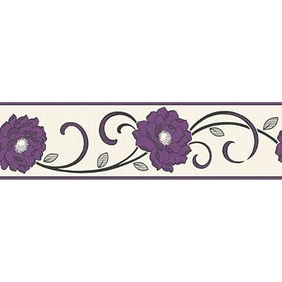 Fine Decor Florentina Wallpaper Border Cream / Purple from Fine Decor