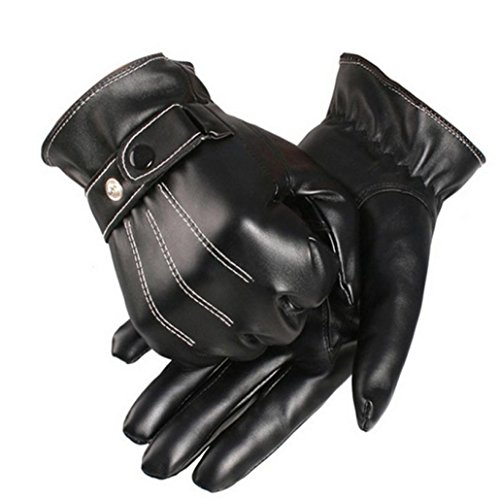 Tenworld Mens Luxurious PU Leather Winter Super Driving Warm Gloves Cashmere Hot