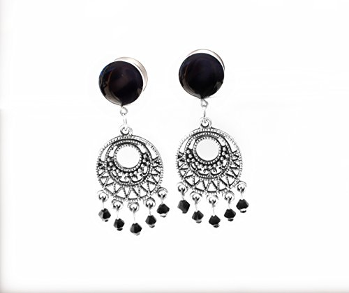 Black Chandelier Dream Catcher Plugs with Black Gems / 4g, 2g, 0g, 00g, 7/16, 1/2in, 9/16, 5/8 inch (4g Gem Plugs compare prices)