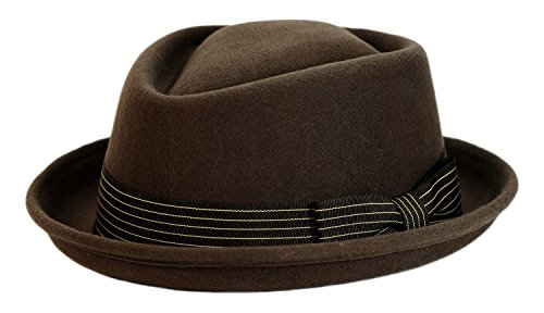 9th Street 100% Wool 'Boxer' Porkpie Hat (XLarge (fits 7 1/2 to 7 5/8), Brown) (Men Pork Pie Hat compare prices)