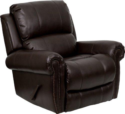 Flash Furniture MEN-DSC01072-BRN-GG Plush Brown Leather Rocker Recliner - 1