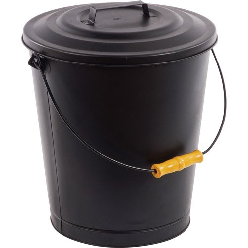 home Hearth Fireplace Ash Bucket, with Lid, Reinforced base, steel construction image