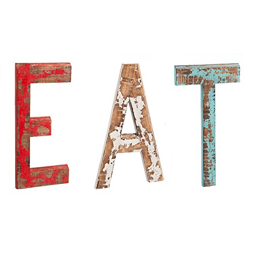 Cape Craftsmen Distressed EAT Letters Wooden Wall Decor (Eat Letters For Kitchen compare prices)