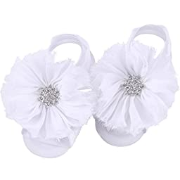 FEITONG 2016 1Pair Infant Pearl Chiffon Barefoot Toddler Foot Flower Beach Sandals (White)