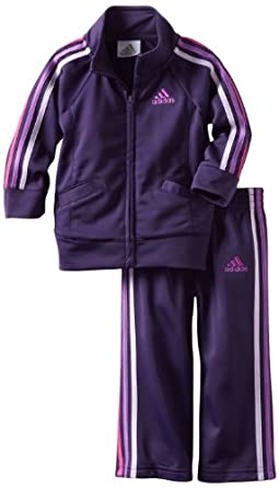 adidas Girls 2-6X ITB Iconic Tricot Set, Dark Violet, 4T