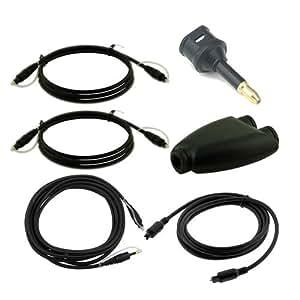 Skque Home toslink splitter Mini Optical Toslink adapter, 3 Digital Optical Toslink M/M cables(3/6/12 feet) and 6 feet Toslink Mini Male to Male cable